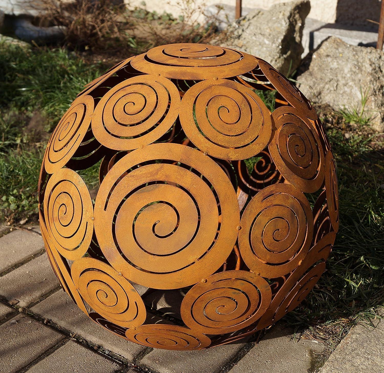 Gartendeko Rost Spirale Stecker 120cm 3 Edelstahlkugeln