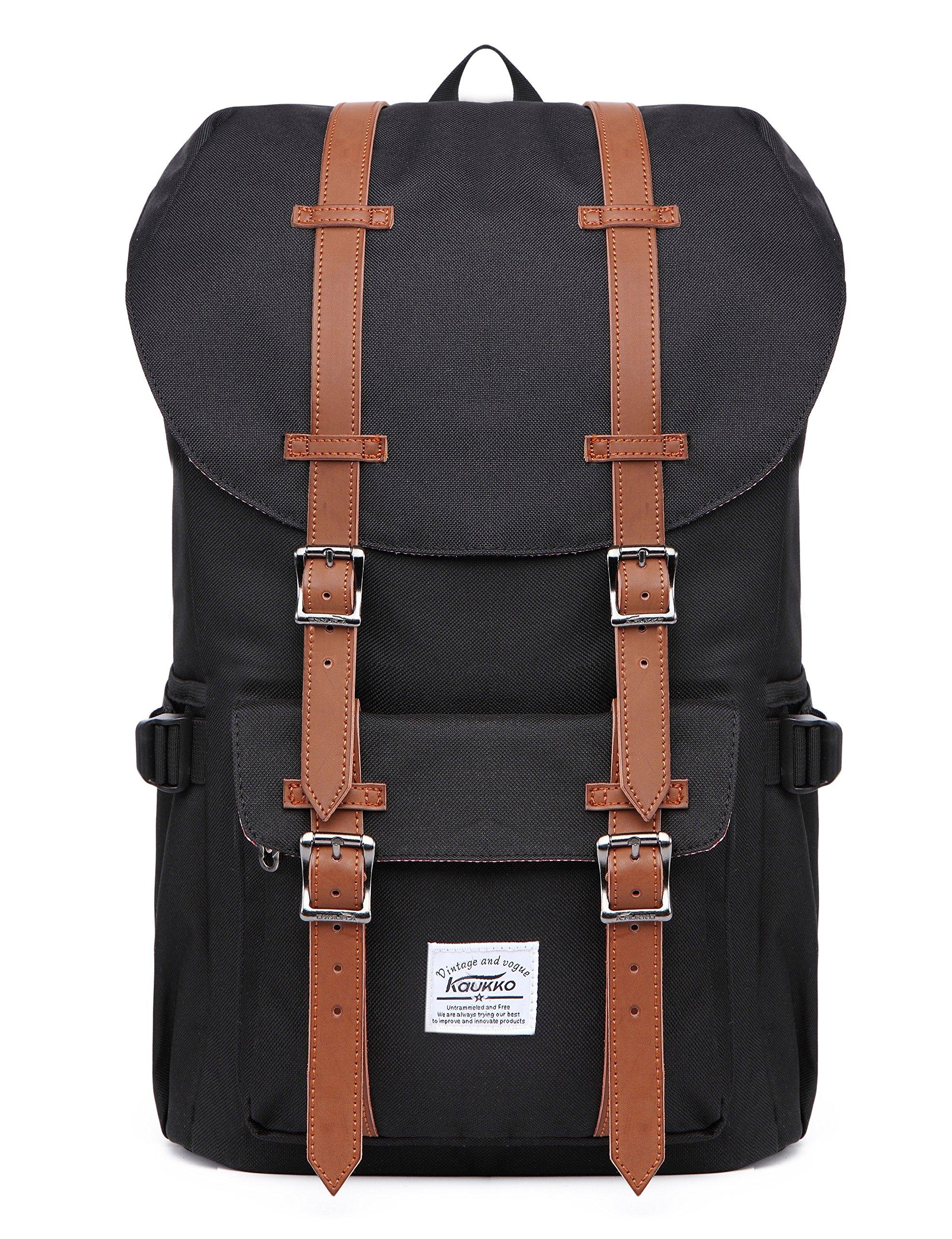 KAUKKO Laptop Outdoor Backpack, Travel Hiking& Camping Rucksack Pack, Casual Large College School Daypack, Shoulder Book Bags Back Fits 15'' Laptop & Tablets (Nblack) by KAUKKO