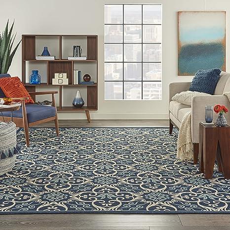 Amazon Com Nourison Caribbean Indoor Outdoor Area Rug 7 10 X 10 6 Navy Blue Furniture Decor