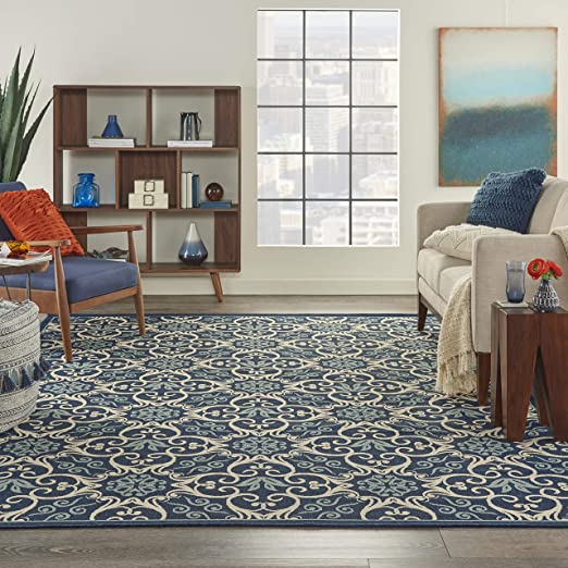 Amazon Com Nourison Caribbean Indoor Outdoor Area Rug 7 10 X 10 6 Navy Blue Furniture Decor