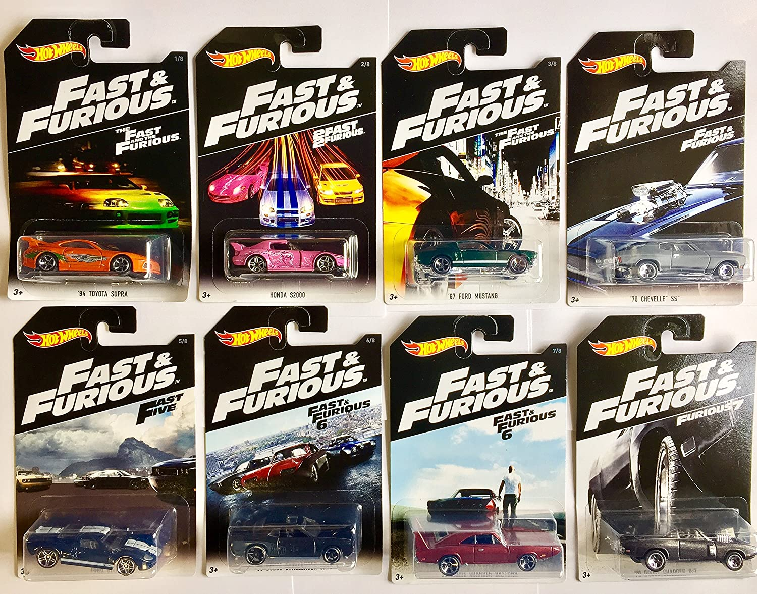 Hot Wheels Fast and Furious Set of 8 2016 Exclusive 1:64 Mattel Diecast