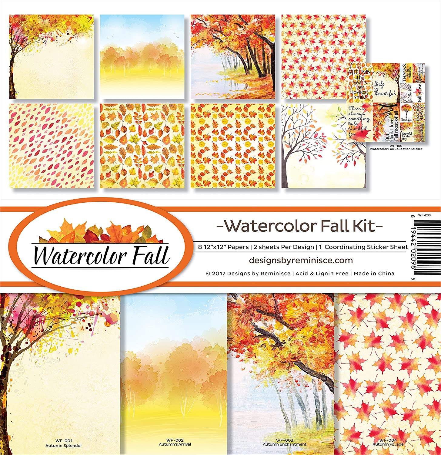 Reminisce Watercolor Fall Scrapbook Collection Kit