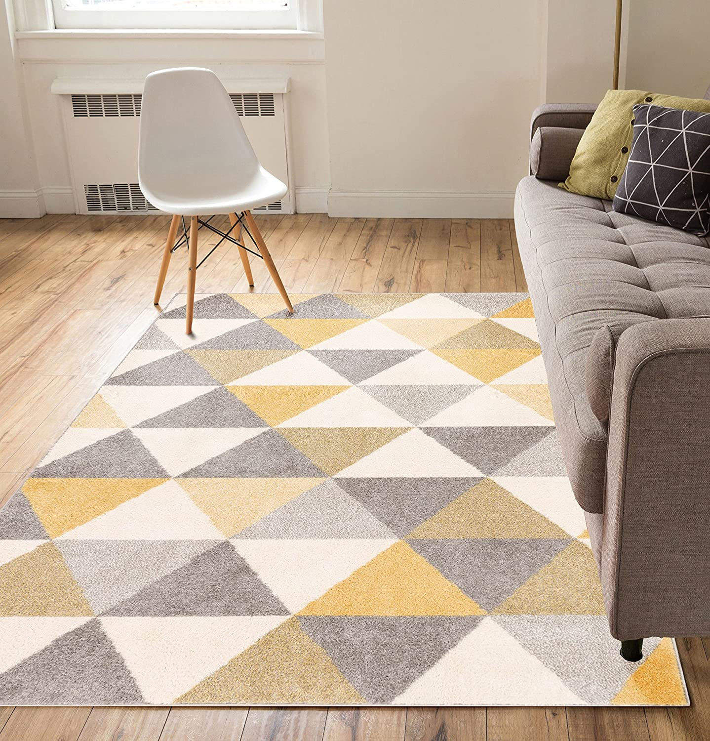 Amazon.com: Well Woven Isometry Gold U0026 Grey Modern Geometric Triangle  Pattern 5u0027 X 7u0027 Area Rug Soft Shed Free Easy To Clean Stain Resistant:  Kitchen U0026 ...