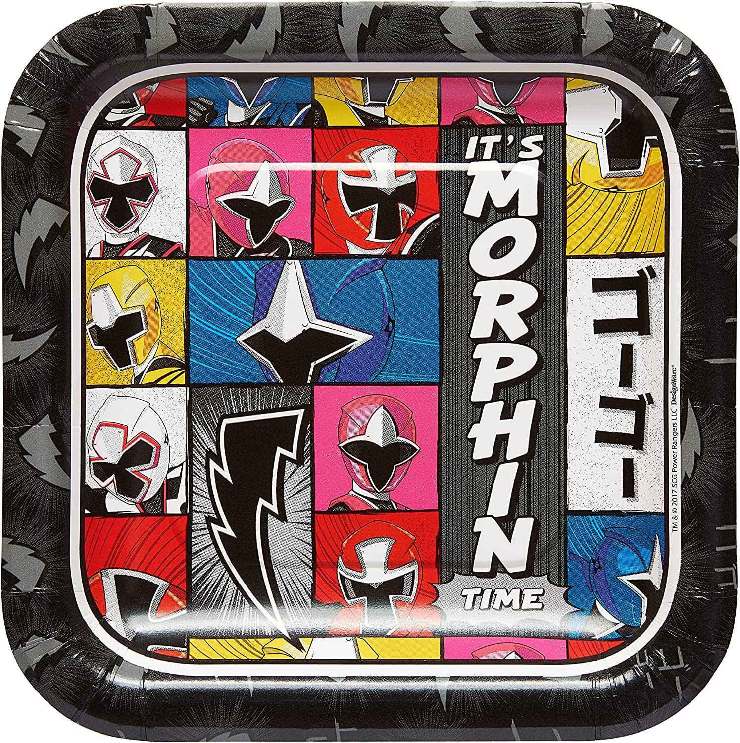 "Power Rangers Ninja Steel™ Square Plates, 7"", Party Favor"