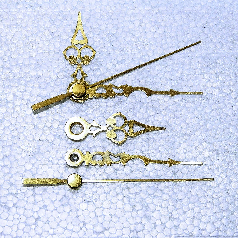 Lancette di ricambio in metallo per movimenti al quarzo, 24-130 mm, montaggio a pressione, per riparazioni fai da te, colore: oro, metallo, Gold, 24mm Gold Spade Clock Spare Parts