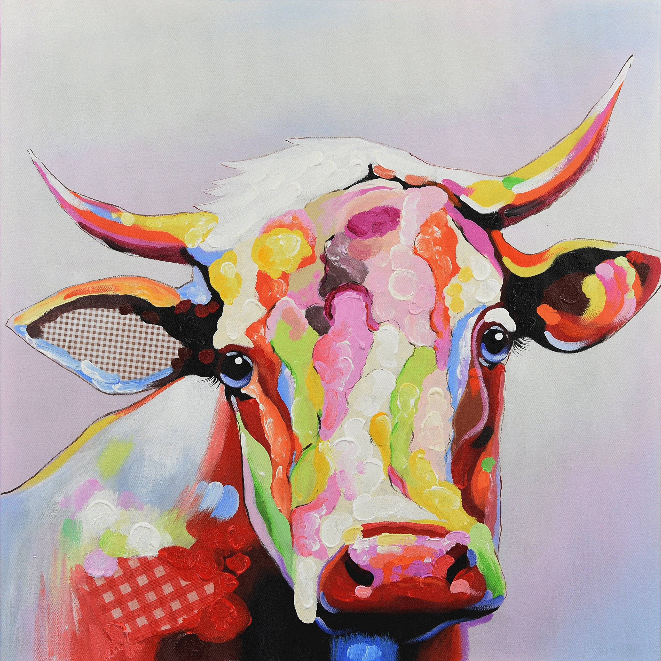 SEVEN WALL ARTS 100% Hand Painted Oil Painting Animal Stretched and Framed Ready to Hang for Living Room for Home Decor (32 x 32 Inch, Colorful Cow)