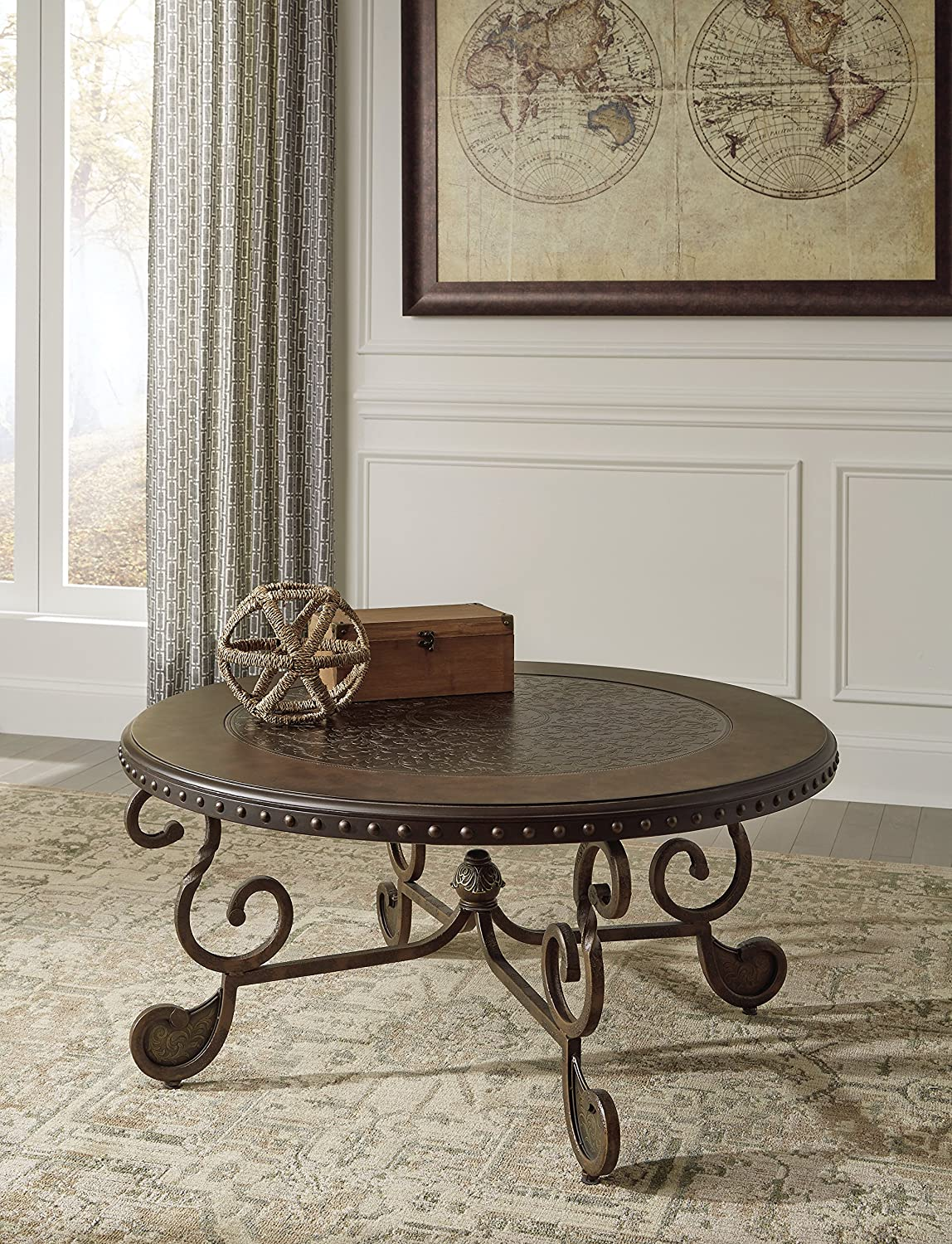 Amazon ashley furniture signature design rafferty coffee amazon ashley furniture signature design rafferty coffee table cocktail height round dark brown kitchen dining geotapseo Images