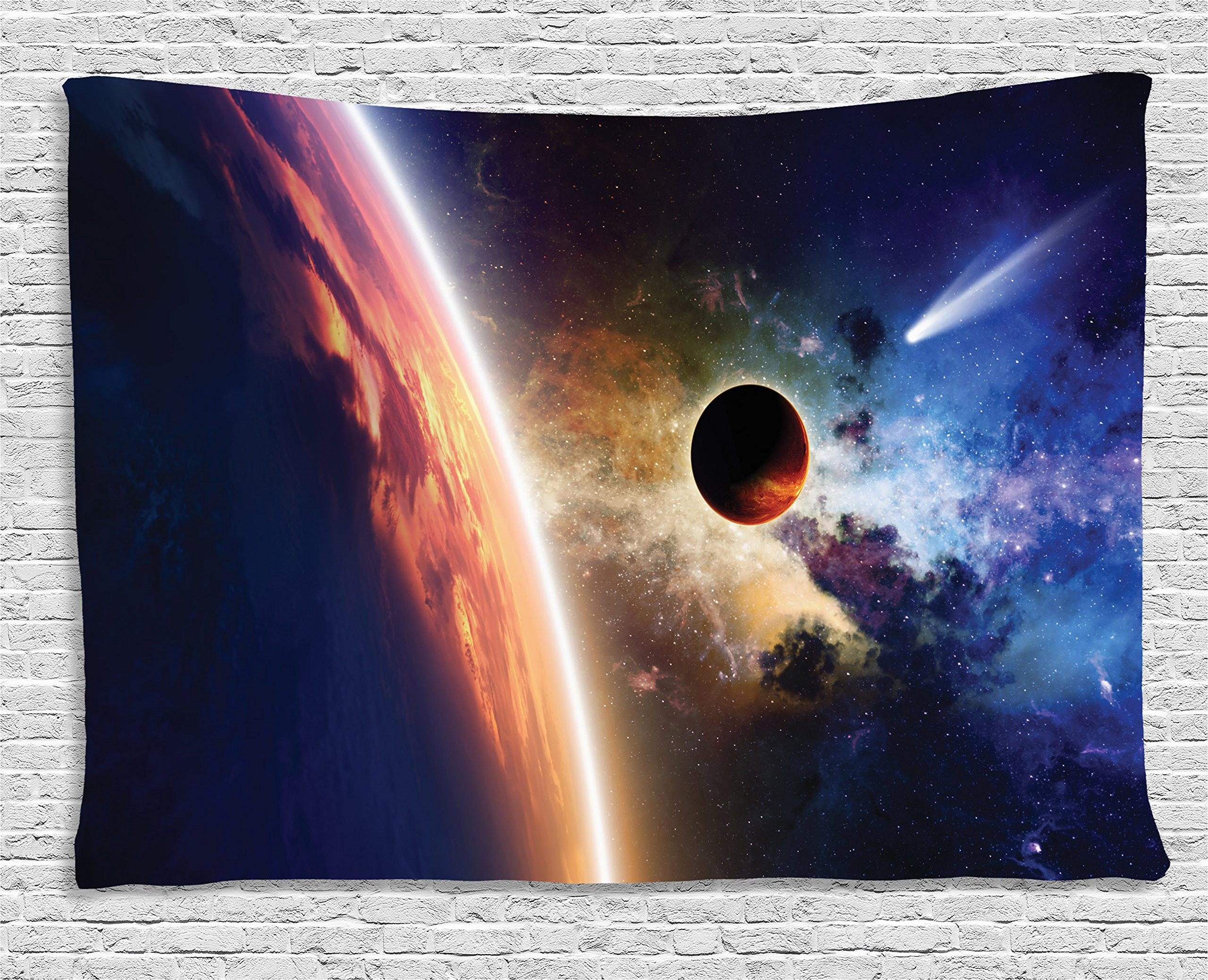 Ambesonne Galaxy Tapestry Earth Decor, Comet Approaches Planet Scientific Facts Realities in Solar System World Scene, Bedroom Living Room Dorm Art Wall Hanging, 80 W X 60 L Inch, Dark Blue