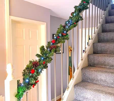 your home online pre lit 27m gold stairs fireplace christmas garland 9ft swag 40 warm