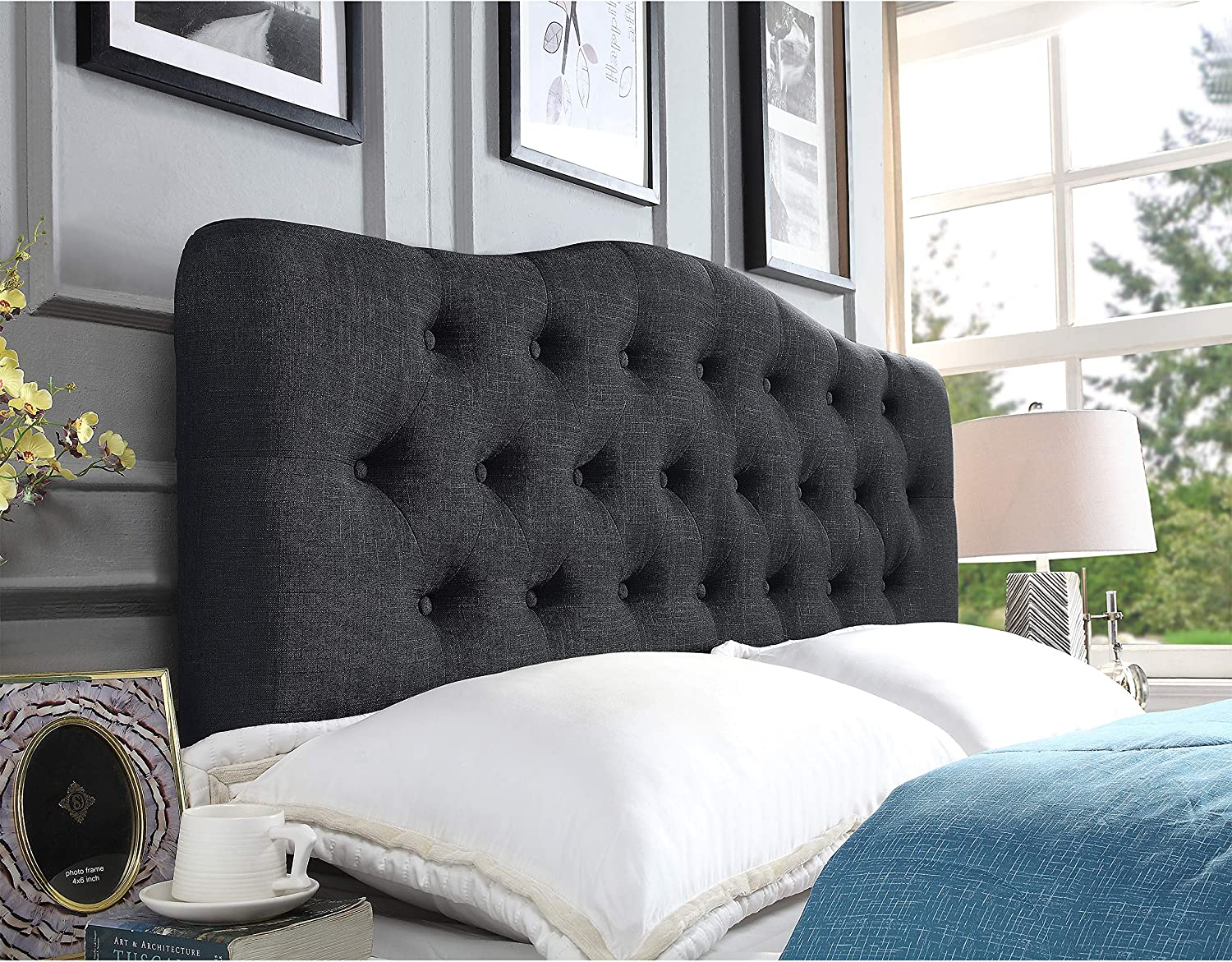 Rosevera Givanna Upholstered Panel Headboard Queen Charcoal Furniture Decor