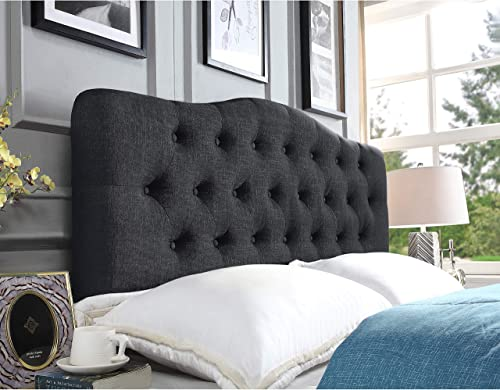 Rosevera Givanna Upholstered Panel Headboard, Queen, Charcoal