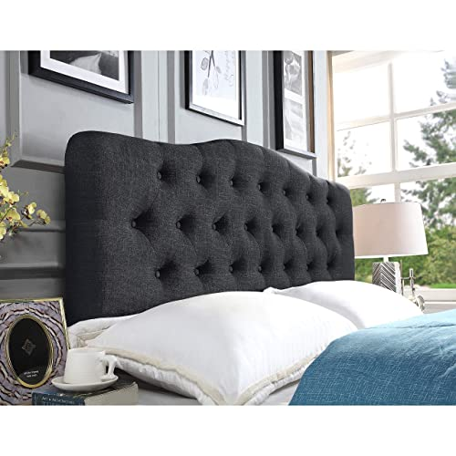 Rosevera Givanna Upholstered Panel Headboard, King, Charcoal