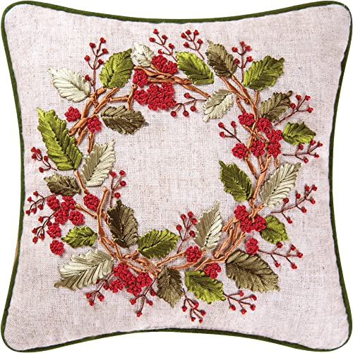 C F Home 12×12 Inches, Berry Wreath Ribbon Art Pillow