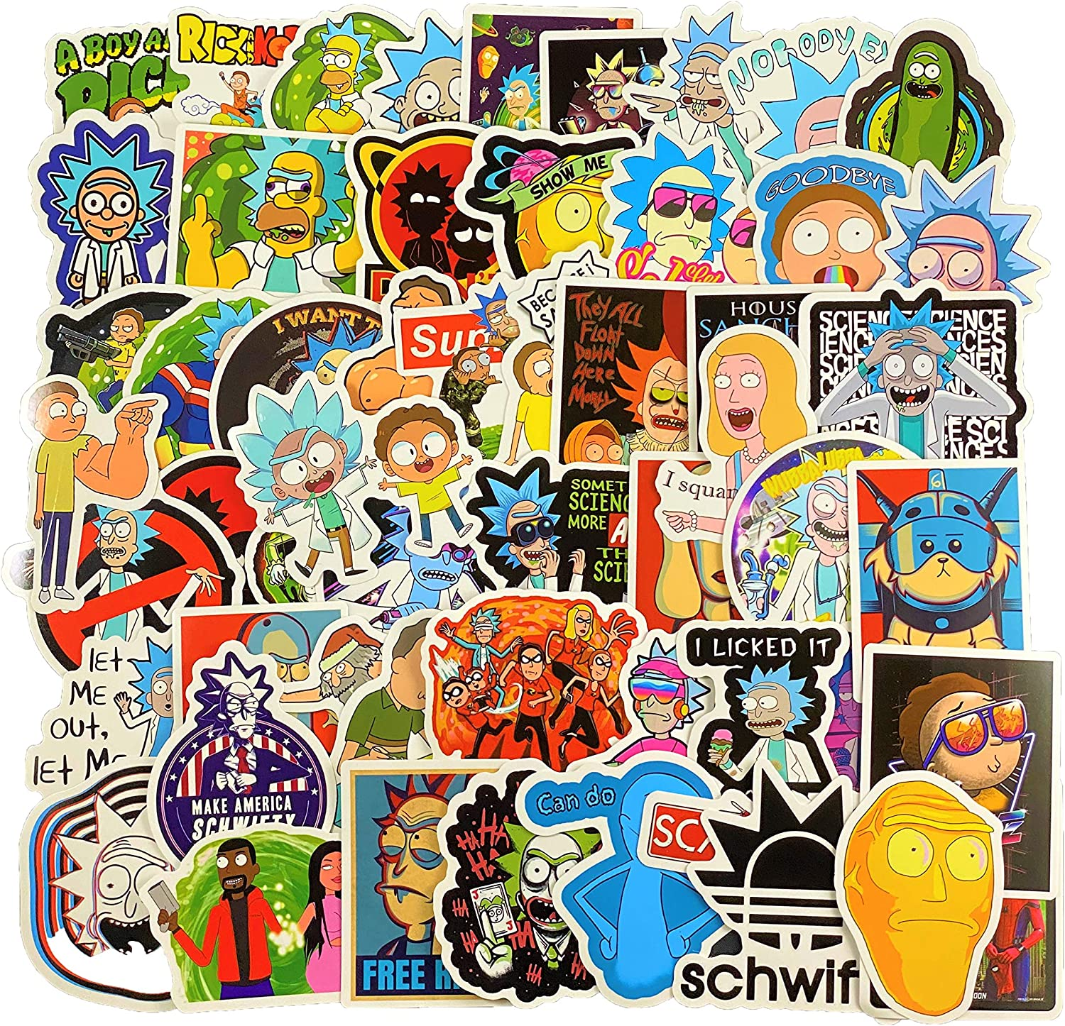 (66pcs) Cartoon Stickers Pack for Laptop Water Bottle Cars Motorcycle Hydro FlaskBicycle Skateboard Luggage Bumper Water Bottles, Waterproof, Extra Durable Vinyl