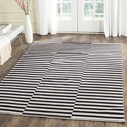 Safavieh Montauk Collection MTK715D Handmade Flatweave Ivory and Black Cotton Area Rug 4 x 6