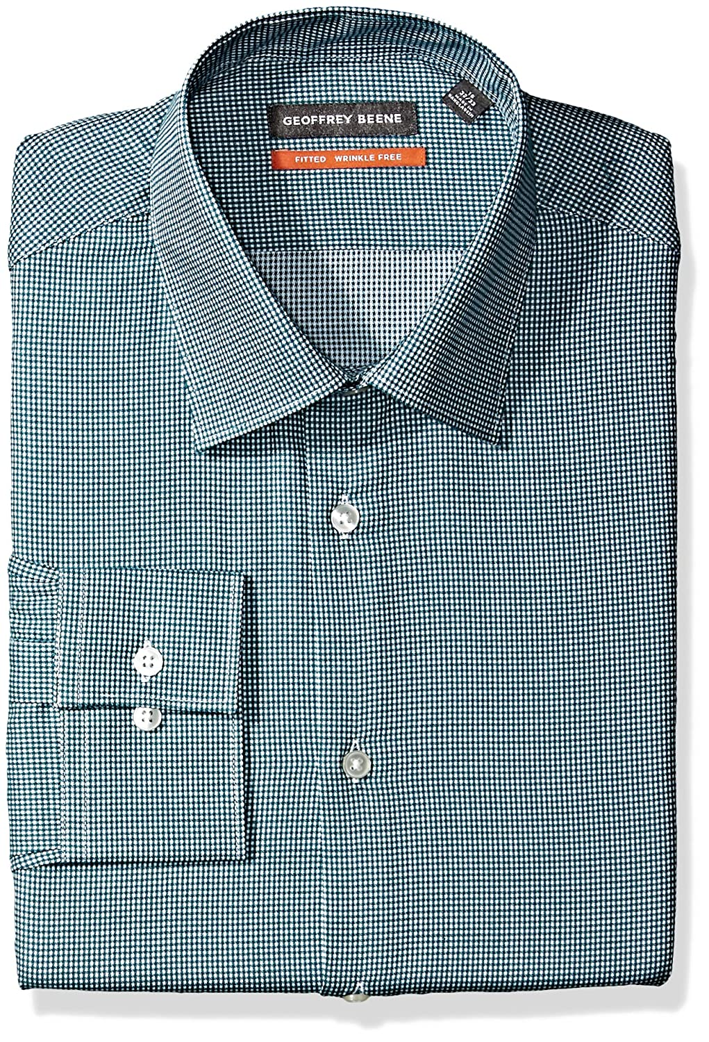 Geoffrey Beene Mens Fitted Check Spread Collar Dress Shirt At