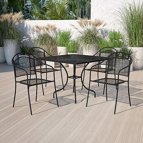 Editors' Choice: Flash Furniture Commercial Grade 35.5″ Square Black Indoor-Outdoor Steel Patio Table Set