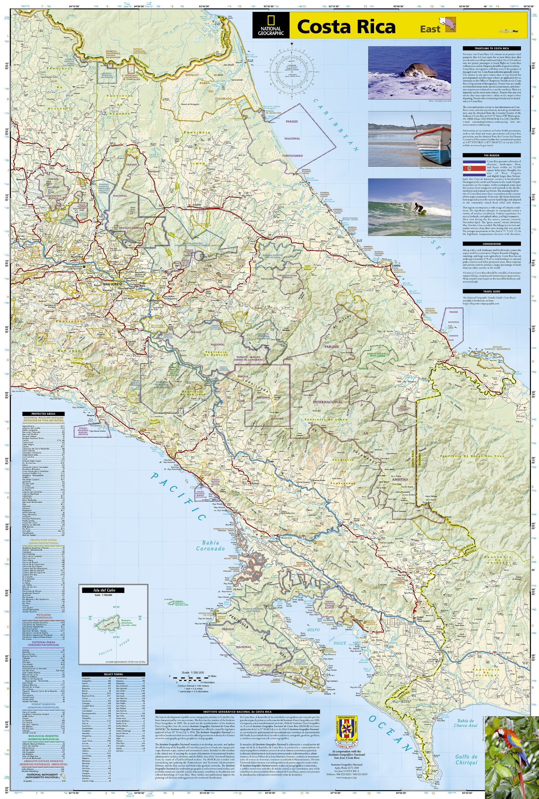 Costa Rica Adventure Travel Map Trails Illustrated National - Costa rica maps