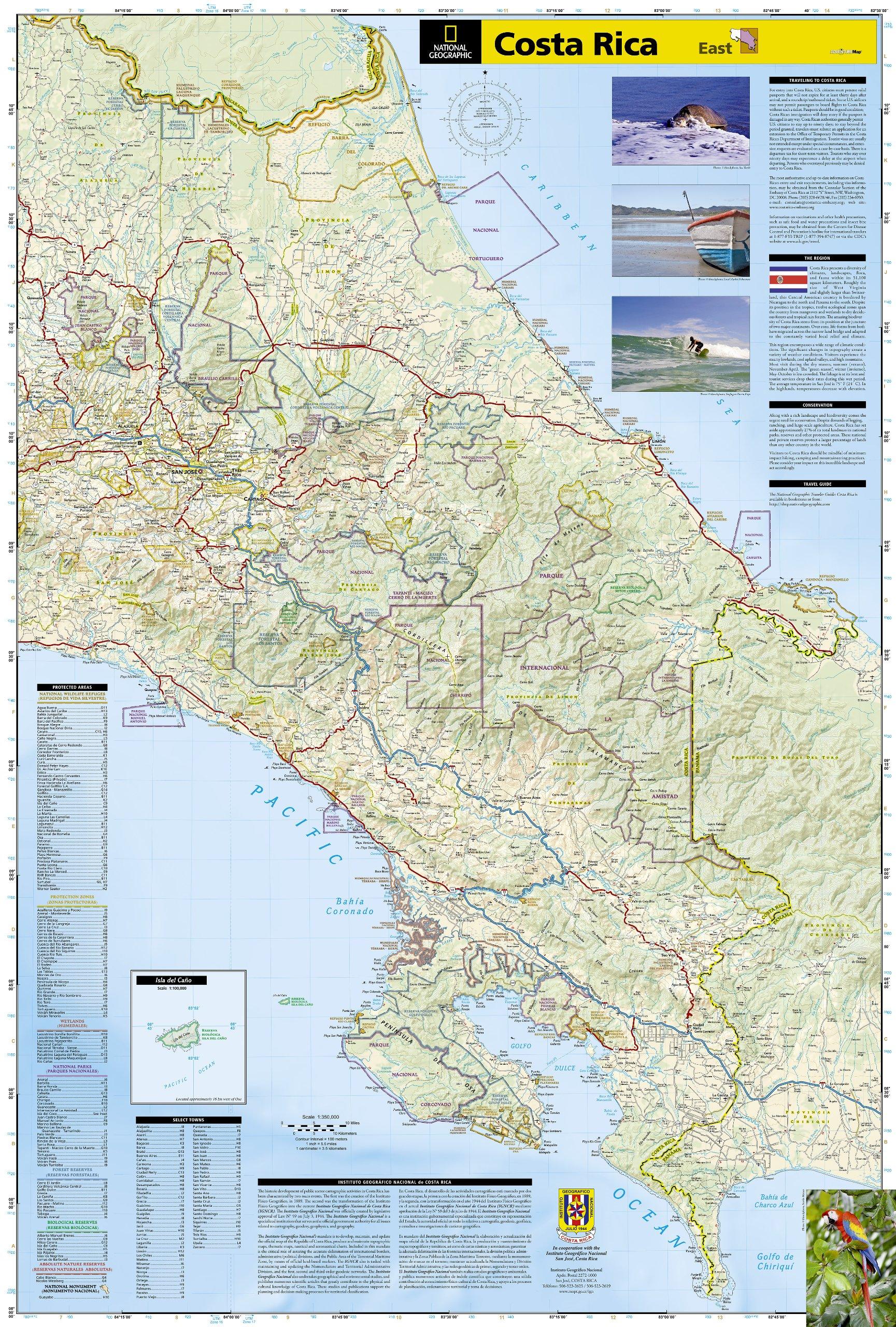 Costa Rica: Travel Maps International Adventure Map: NG.AM3100 ...