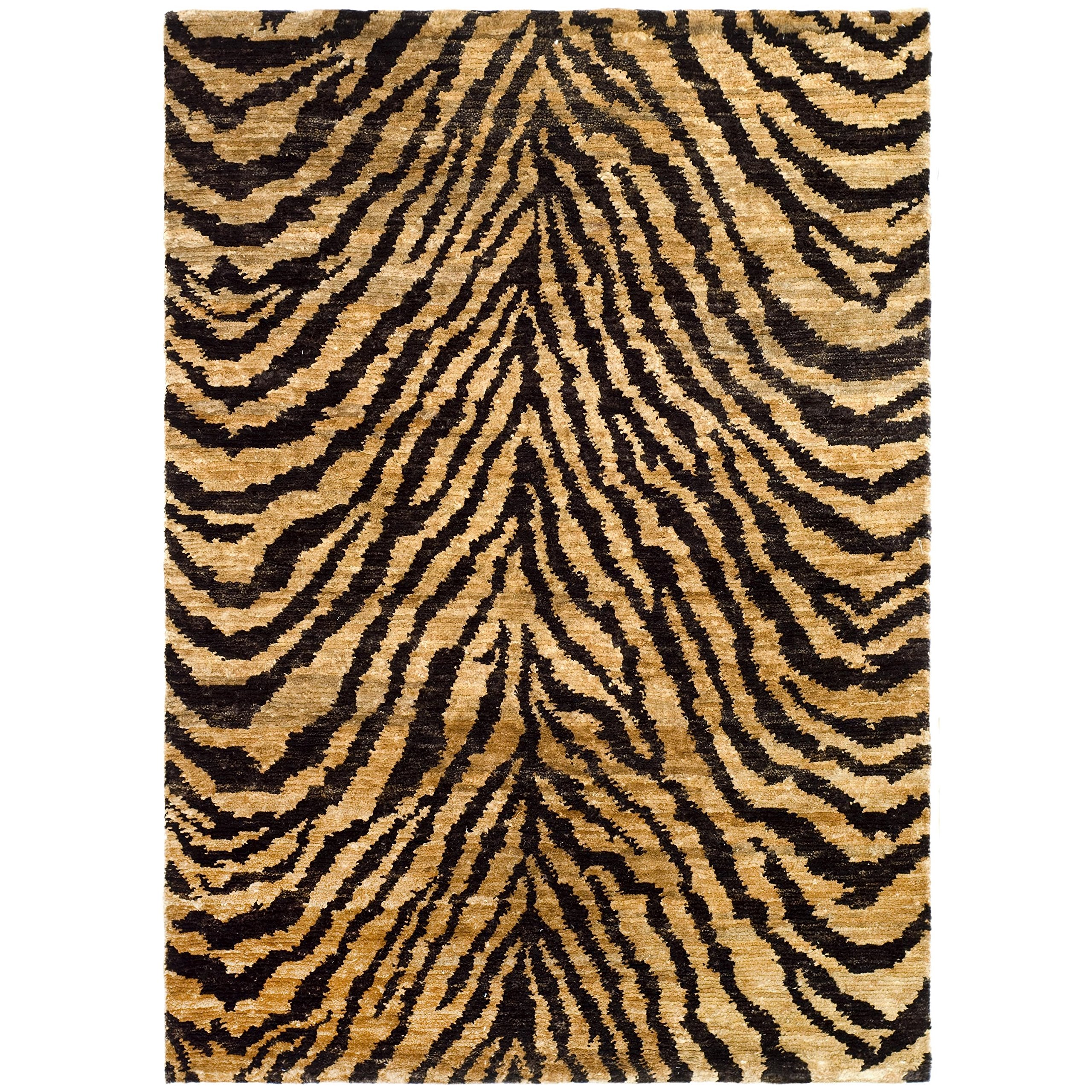 Safavieh Bohemian Collection BOH224A Hand-Knotted Natural and Black Jute Area Rug (5' x 8')