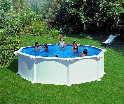 Gre KITPR458 Atlantis - Piscina Elevada Redonda, Aspecto Acero Blanco, 460 x 132 cm: Amazon.es: Deportes y aire libre