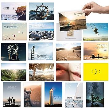 20er Postkarten Set Zum Thema Motivation Mit Spruchen Und Zitaten Jede Postkarte Ein Spruch Oder Zitat