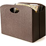 Blu Monaco - Quality Leather Magazine Holder - Basket with Handles - Magazine Rack - Floor or Table - (Woven Brown…