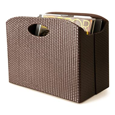 Blu Monaco - Quality Leather Magazine Holder - Basket with Handles - Magazine Rack - Floor or Table - (Woven Brown) - Great Stand for Coffee Table, Side Table, Living Room, Reception Desk, Bathroom