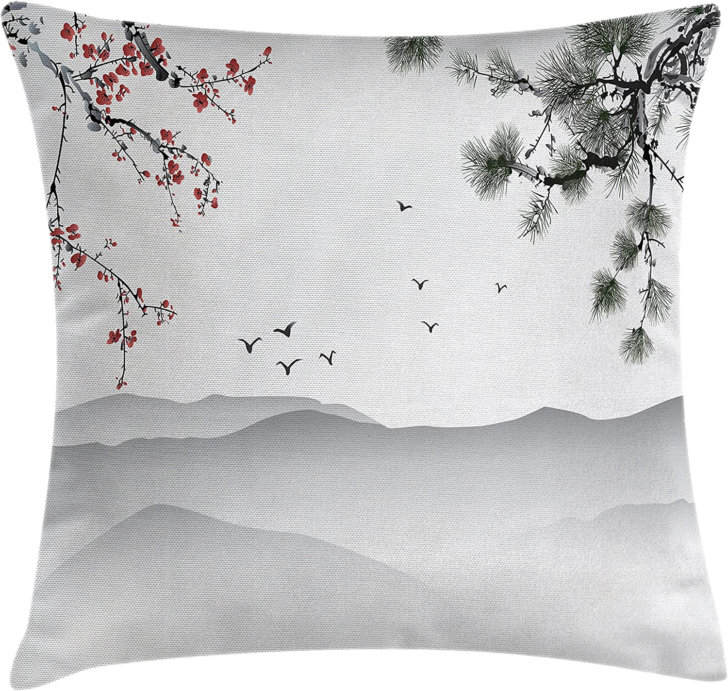 Amazon Com Ambesonne Floral Throw Pillow Cushion Cover Chinese Painting Style Artwork With Tree Branches Birds Mountains Landscape Art Decorative Square Accent Pillow Case 20 X 20 Red Green Black Home Kitchen