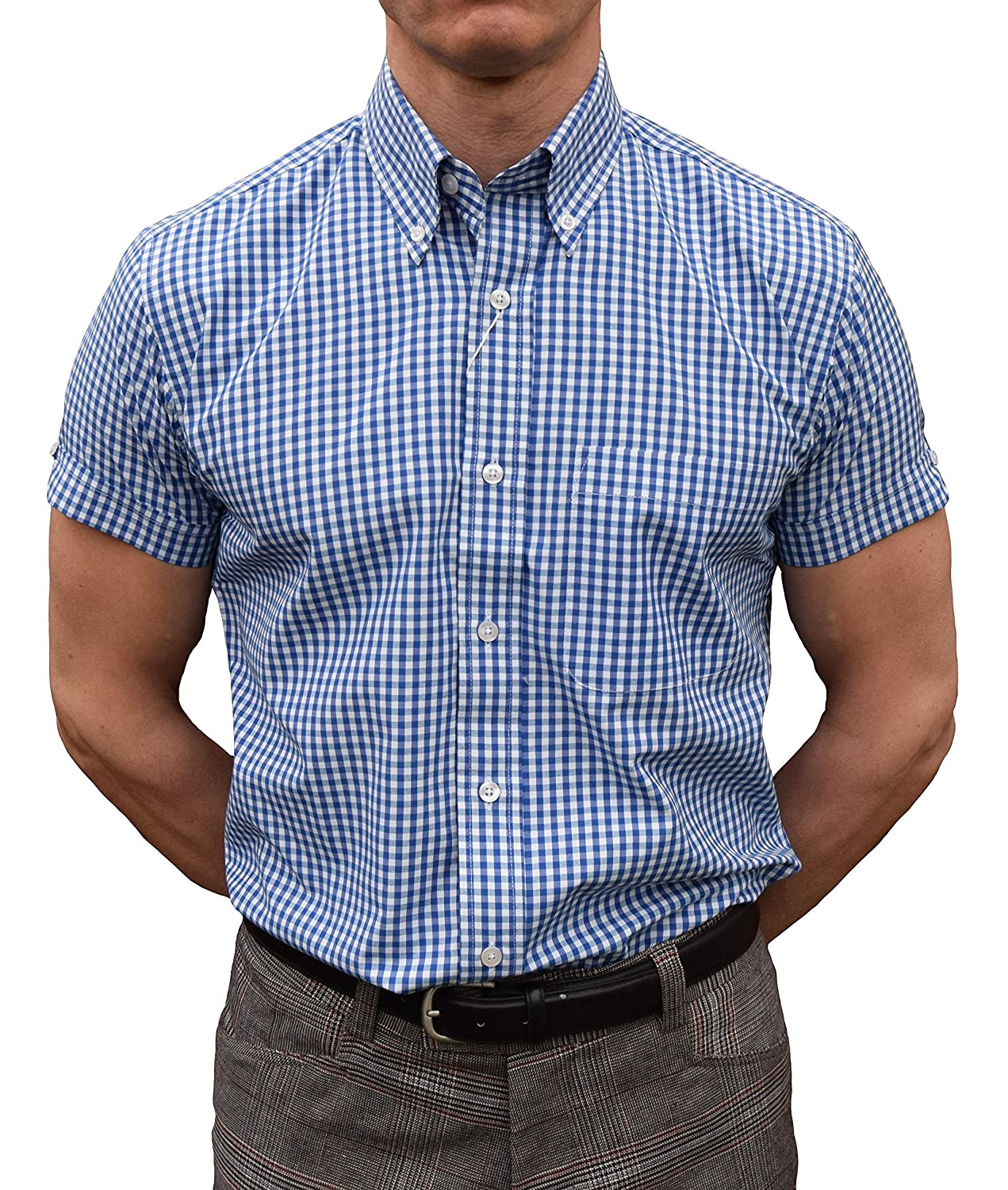 Relco Blue Gingham Short Sleeve Shirt S-3XL Available