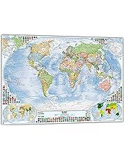 Politische Weltkarte mit 4 Nebenkarten, deutsch
