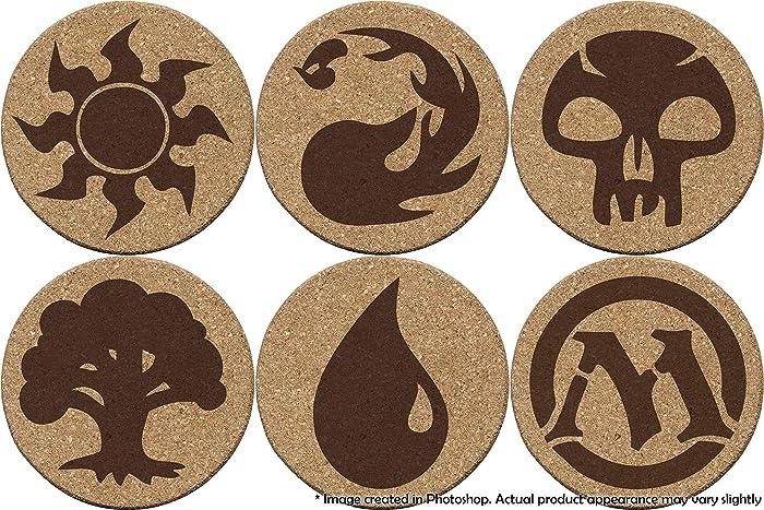 Magic: The Gathering MTG 6 Cork Coaster set Game Element Logo Symbols