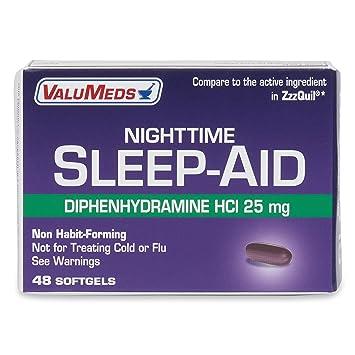 ValuMeds Nighttime Sleep Aid (48-Softgels) Diphenhydramine Hydrochloride  HCl, 25 mg |