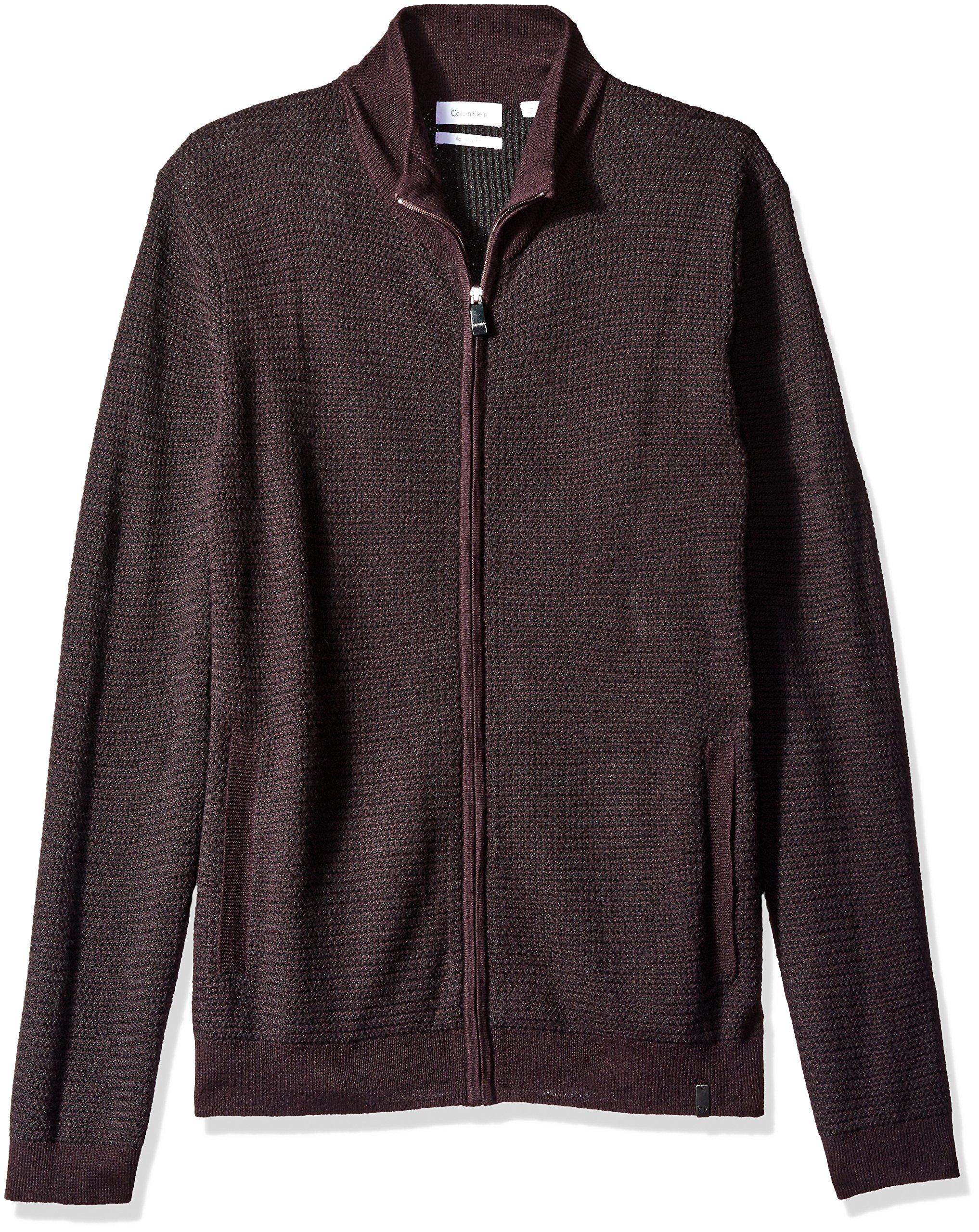 Calvin Klein Men's Merino Full Zip Sweater, Dark Chestnut Combo, Large