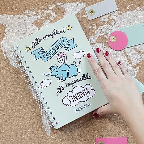 La mente es maravillosa - Cuaderno A5 - Regalo para amiga con dibujos - Diseño Cerdifante