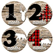 Mumsy Goose Baby Boy Month Stickers (1-12 Months) Rustic Boy 1st Year Milestone Stickers Made in The USA