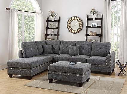 Amazing Amazon Com 2 Pcs Sectional Sofa Ash Black Modern Sectional Machost Co Dining Chair Design Ideas Machostcouk