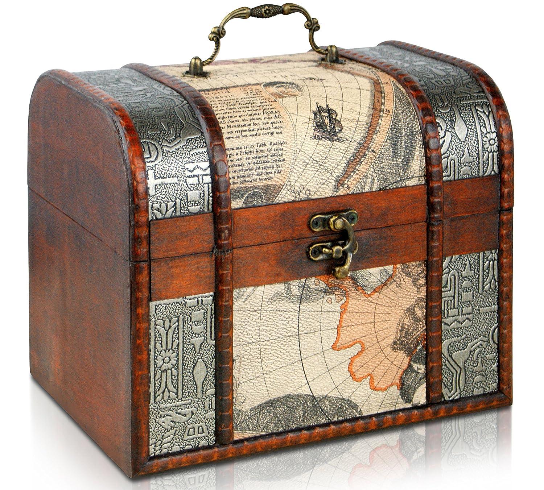 Brynnberg - Pirate Treasure Chest Storage Box - Durable Wood & Metal Construction - Unique, Handmade Vintage Design With A Front Lock - Striking Decorative Element - The Best Gift (Louis medium 21x17x18cm)