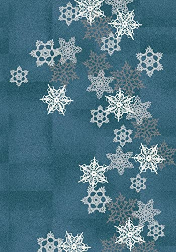 Milliken Holiday Collection Snowfall Area Rug, 5 4 x 7 8 , Arctic Blue