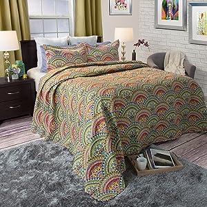 Lavish Home Melanie Printed 3-Piece Quilt Set, King