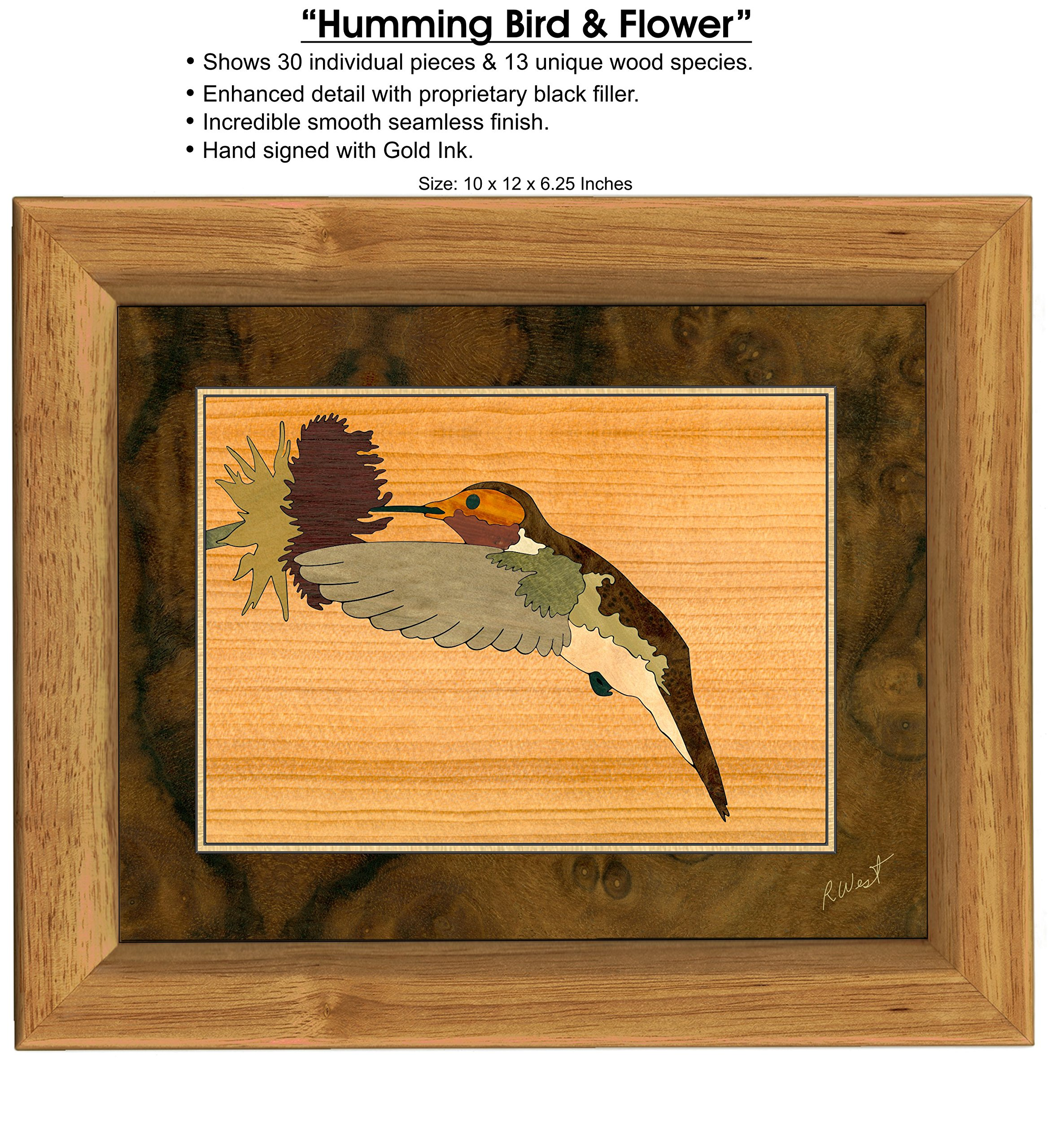 MarqART Hummingbird Wood Art Jewelry Box & Gift - Handmade USA - Unmatched Quality - Unique, No Two are The Same - Original Work of Wood Art (#7017 Hummingbird 3 Drawer) by MarqART (Image #2)