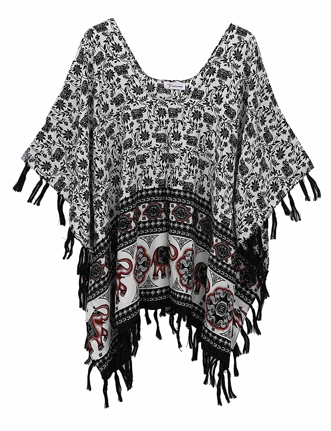 Soul Young Womens Floral Summer Poncho Cover up Beachwear Swimwear Blouse With Tassel