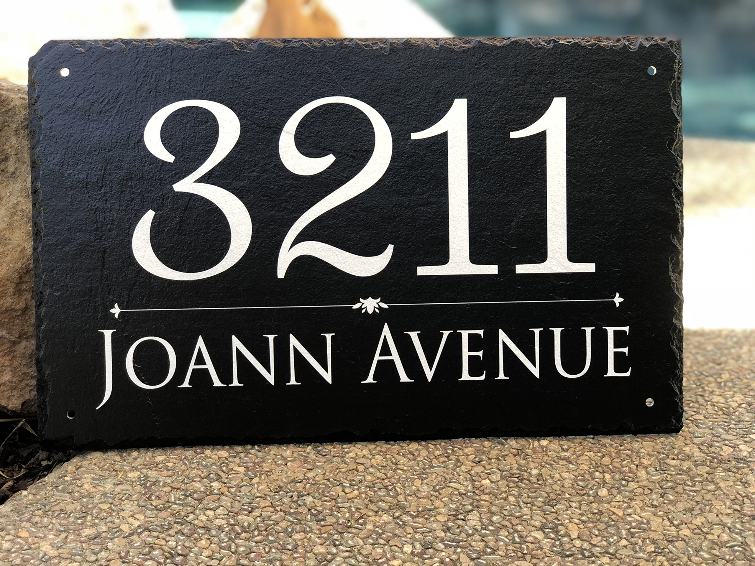 """Beautifully Handcrafted and Customizable Slate Home Address Plaque (16""""x10"""" 12''x6'' or 18""""x8"""") Personalized House Sign with and mounting hardware. Improve the curb appeal of your property by Sassy Squirrel (Image #3)"""