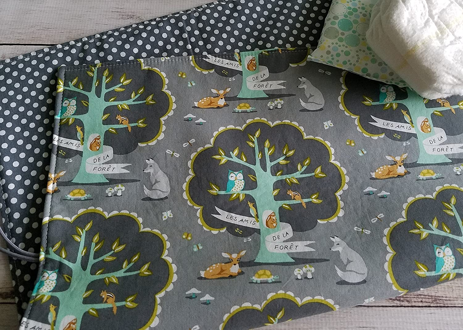 Grey Woodland Travel Diaper Changing Mat