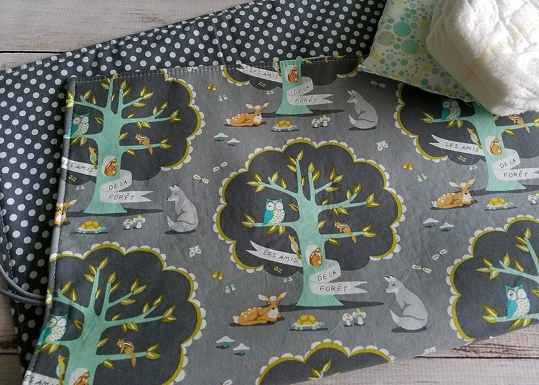 Grey Woodland Travel Diaper Changing Mat