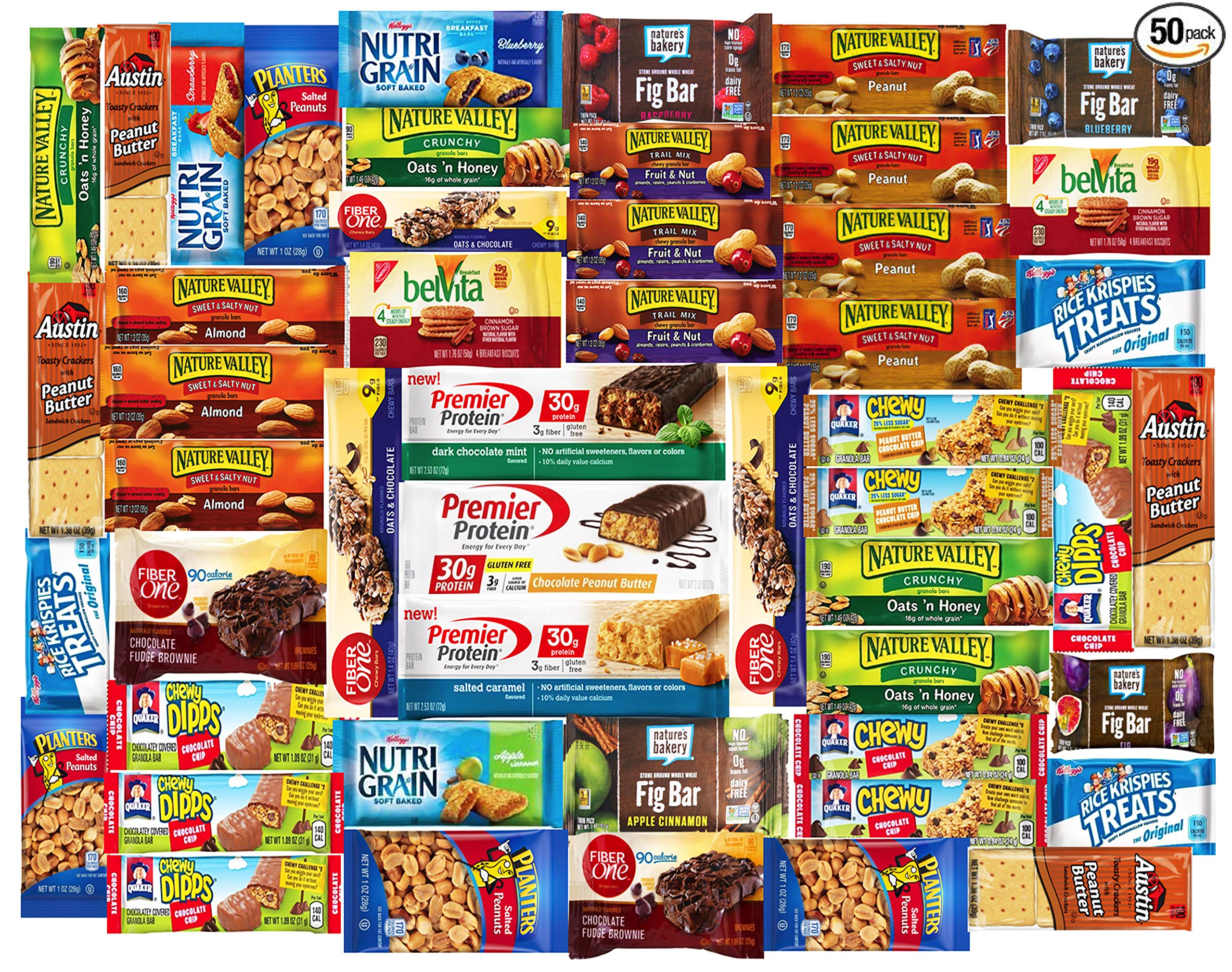 Healthy Snacks and Bars Variety Pack Gift Snack Box - Bulk Sampler (Care Package 50 Count)