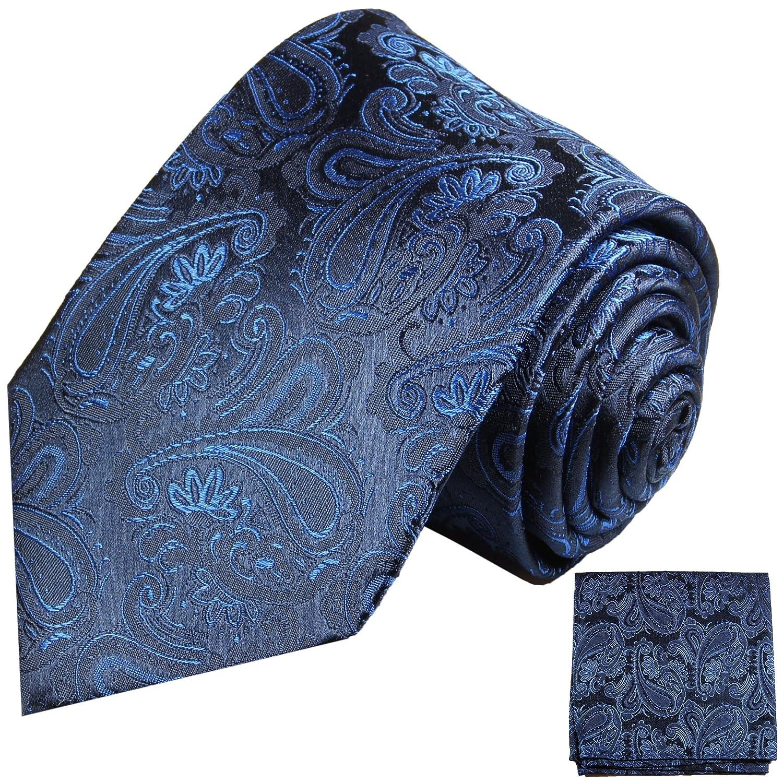 Blaues paisley Krawatten Set 3tlg 100% Seidenkrawatte Paul Malone (Normallänge, Extralang oder schmal) 518-3er