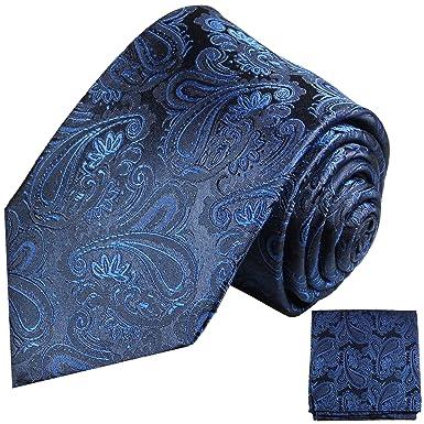 53a7e8eaed31 Paul Malone Krawatten Set 100% Seide blau paisley Hochzeitskrawatte mit  Einstecktuch