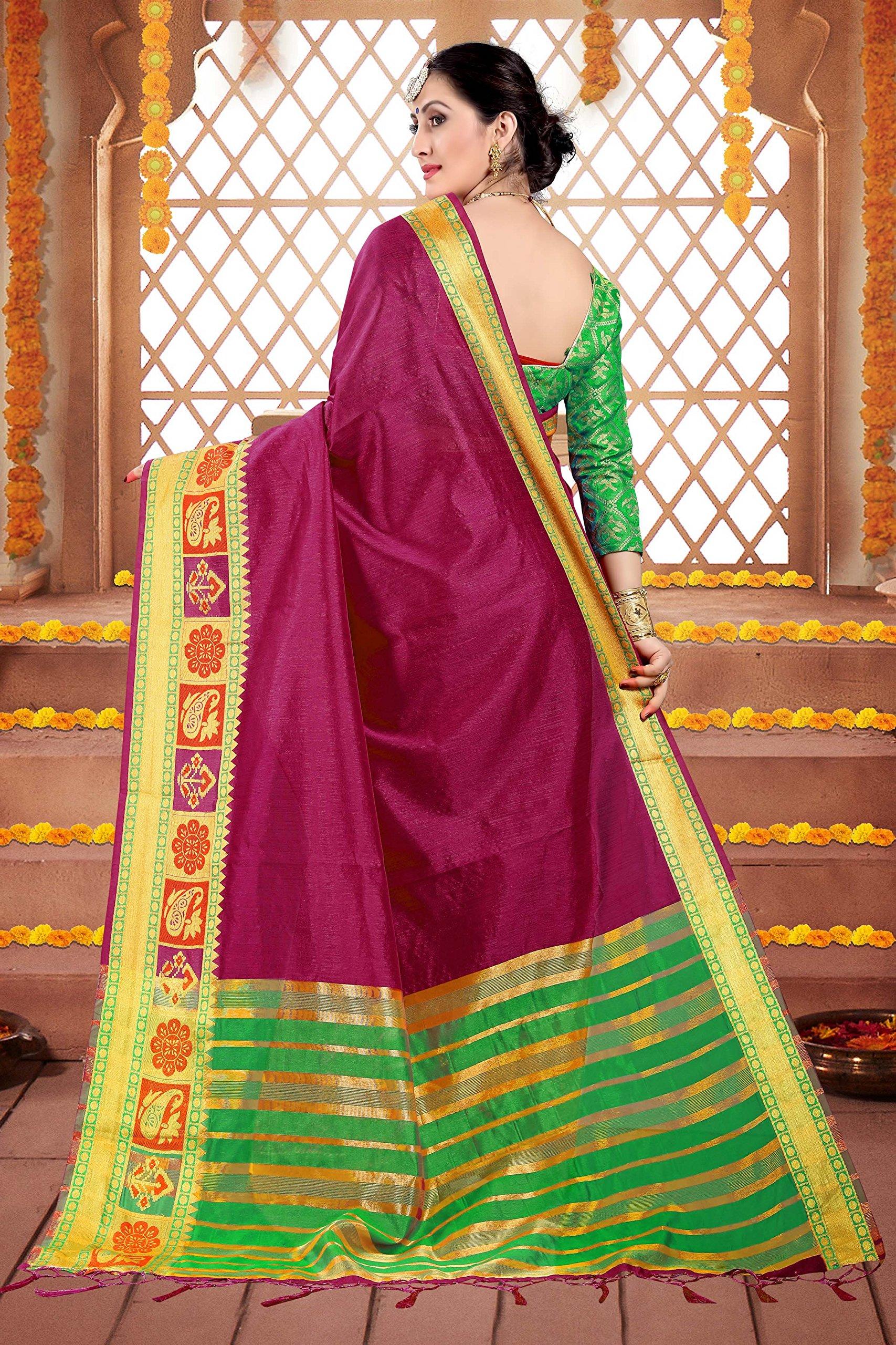 ELINA FASHION Sarees Women Cotton Silk Woven Saree l Indian Wedding Gift Sari Un Stitched Blouse by ELINA FASHION (Image #4)