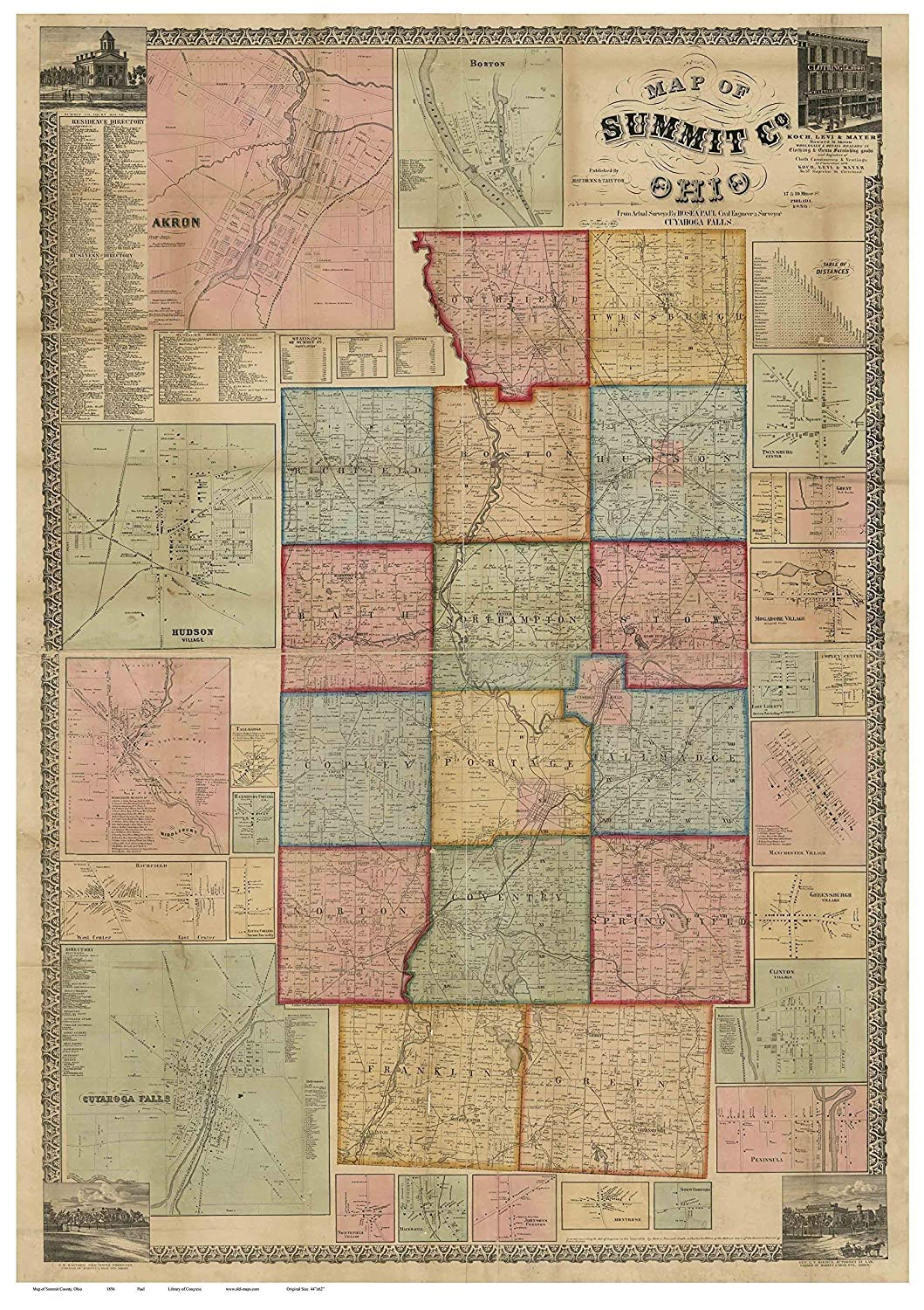 Falls Of The Ohio Map.Amazon Com Summit County Ohio 1856 Wall Map With Homeowner Names